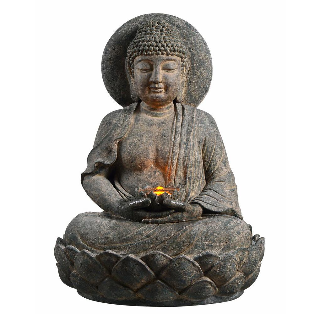 Peaktop Outdoor Buddha Zen Fountain with LED Light