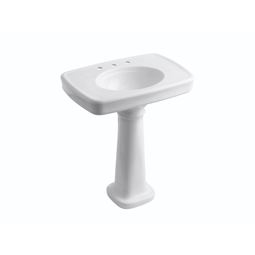 KOHLER Bancroft Vitreous China Pedestal Combo Bathroom Sink with 8 in. Centers in White with Overflow Drain