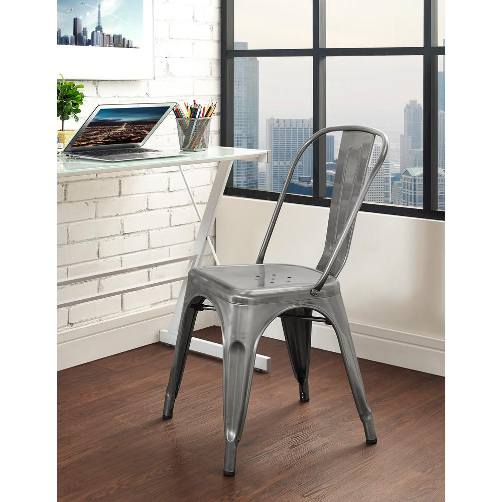 Walker edison furniture company gunmetal metal dining chair hdh33mcgm the home depot