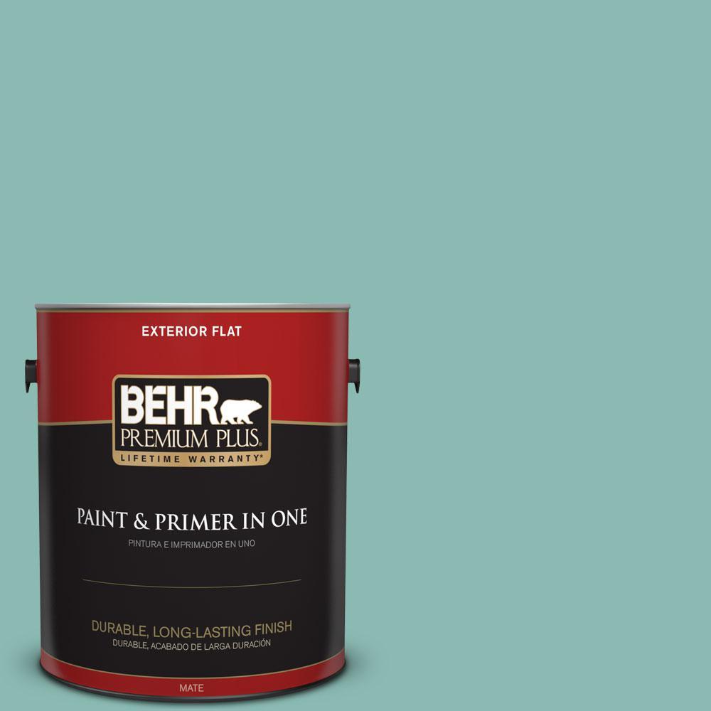 BEHR Premium Plus 1-gal. #T14-1 Ocean Liner Flat Exterior Paint