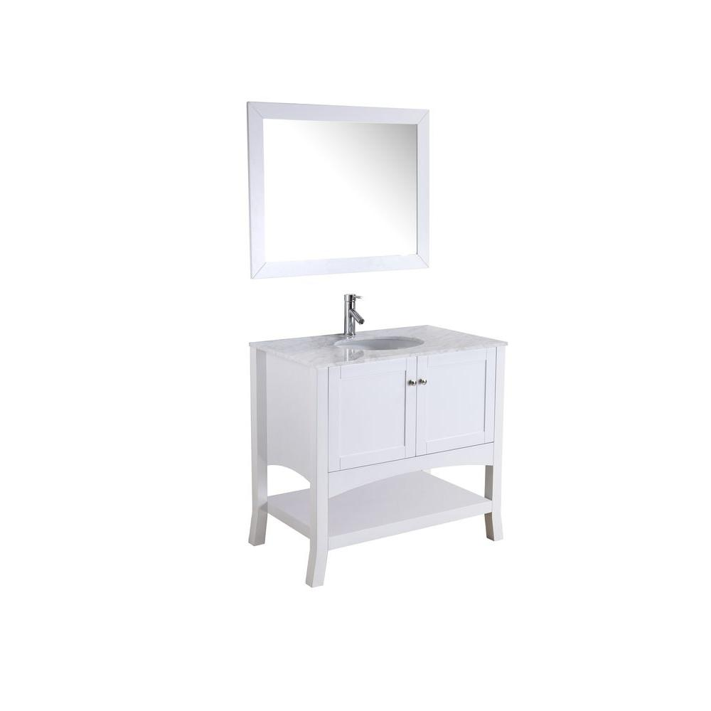 Virtu USA Alley 37-1/5 in. Single Basin Vanity in White with Marble Vanity Top in Italian Carrara Mirror-DISCONTINUED