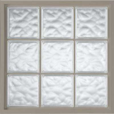 39 in. x 39 in. Glass Block Fixed Vinyl Windows Driftwood, Wave Pattern Glass - Driftwood