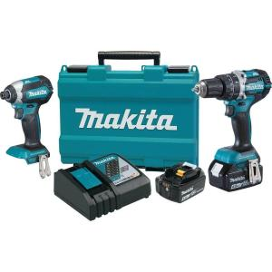 Makita 18-Volt LXT Lithium-Ion Brushless Cordless Hammer Drill and Impact Driver Combo Kit (2-Tool) w/ (2) 4Ah... by Makita