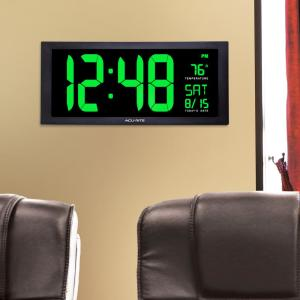 AcuRite 18 inch Large LED Clock with Indoor Temperature in Green Display by AcuRite