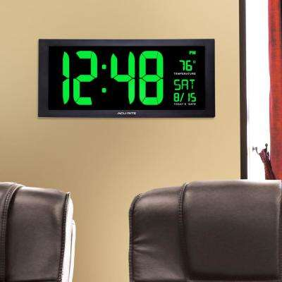 18 in. Large LED Clock with Indoor Temperature in Green Display