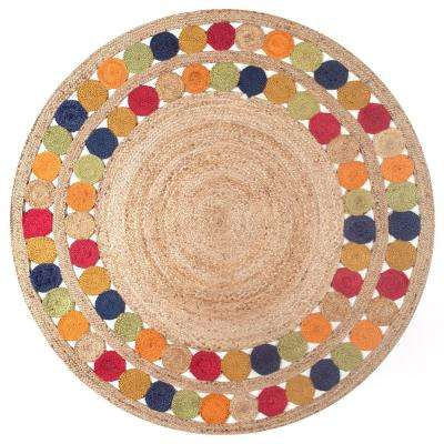 Denita Circles Border Jute Natural 8 ft. x 8 ft. Round Area Rug