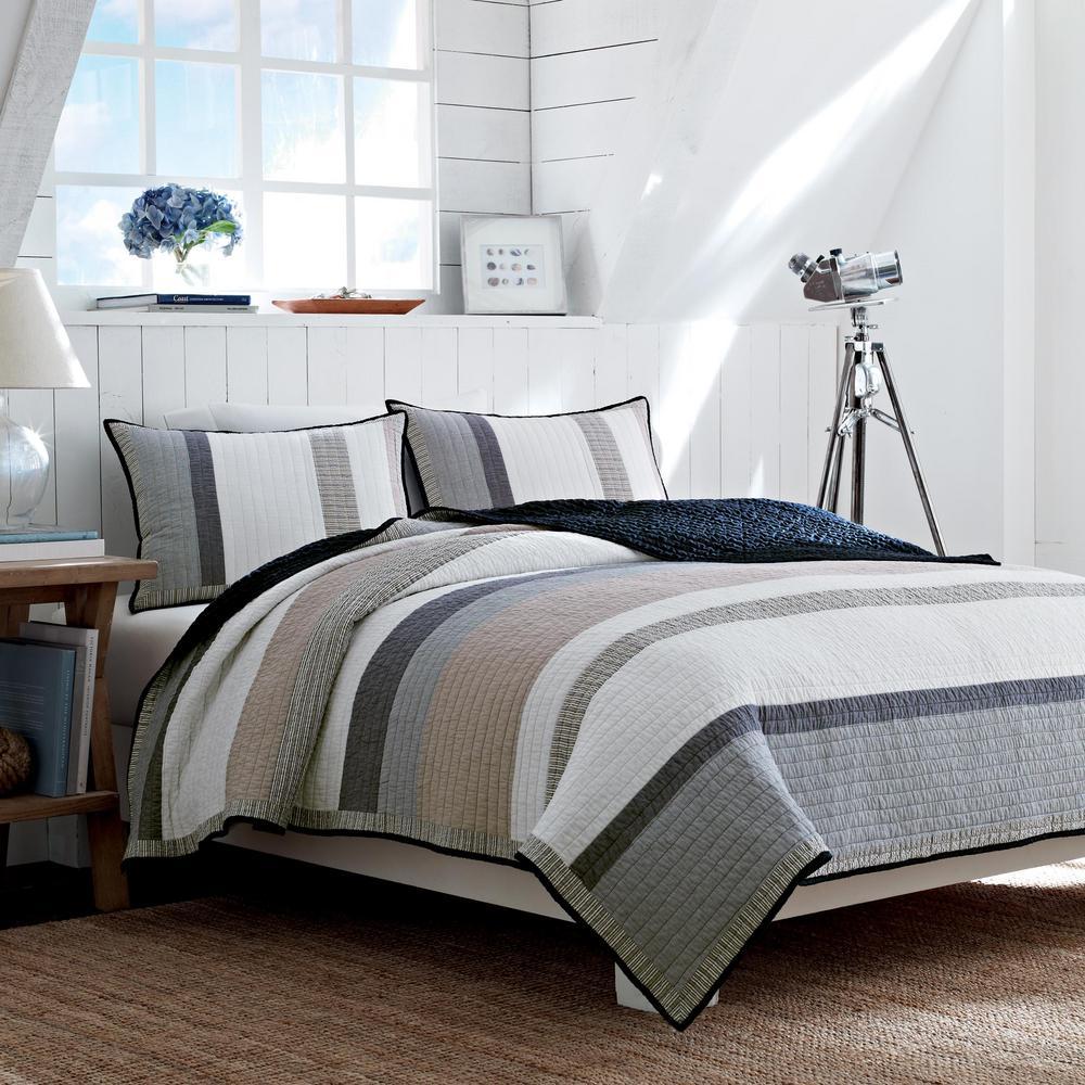Tideway Blue Striped King Cotton Quilt