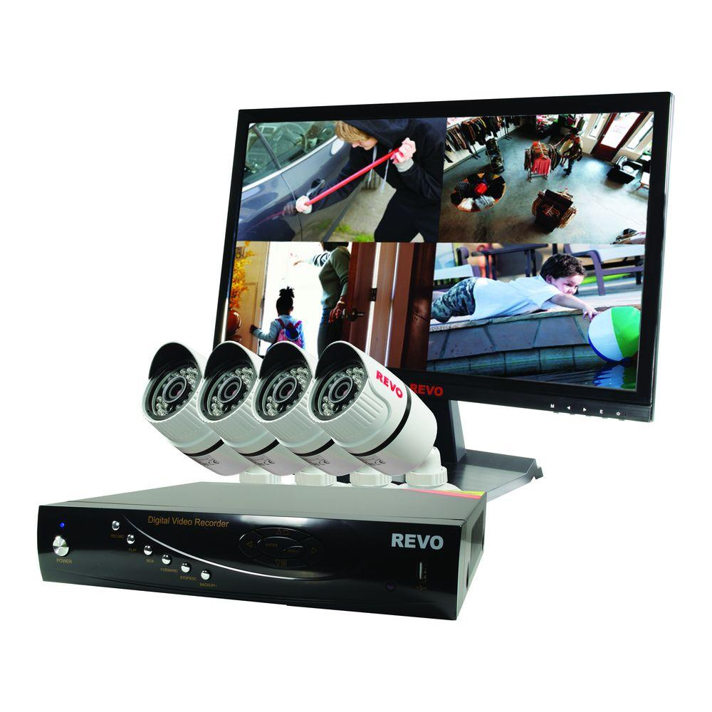 Revo T-HD 4-Channel 1TB DVR Surveillance System with 4 T-HD 1080p Bullet Cameras