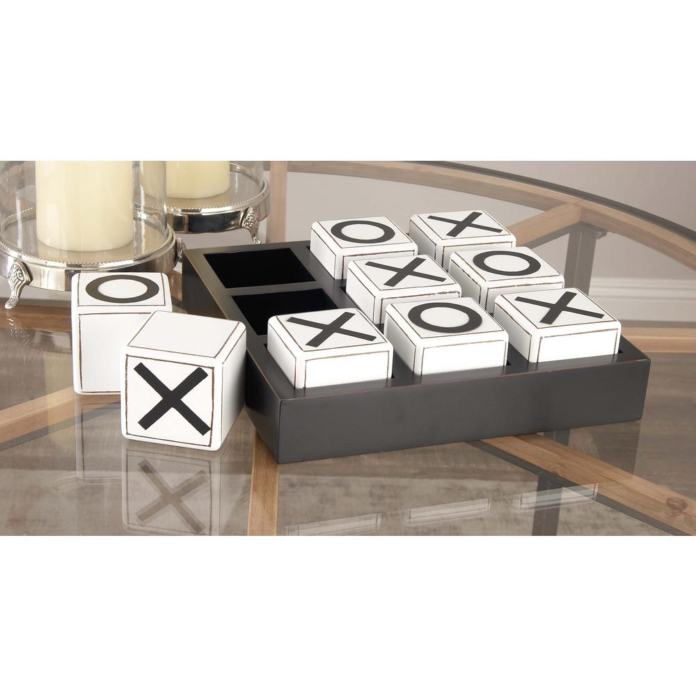 Litton Lane 14 In X 4 In New Traditional Wood Tic Tac Toe Table