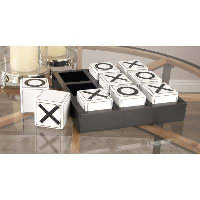 14 in. x 4 in. New Traditional Wood Tic Tac Toe Table Decor