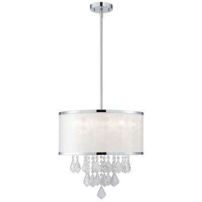 Reese 4-Light Chrome Chandelier with Sparkle Shade and Crystal
