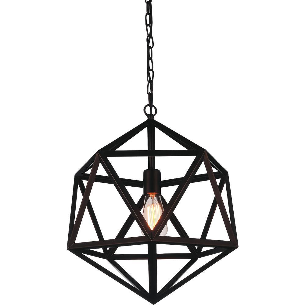 Dia 1-Light Black Pendant