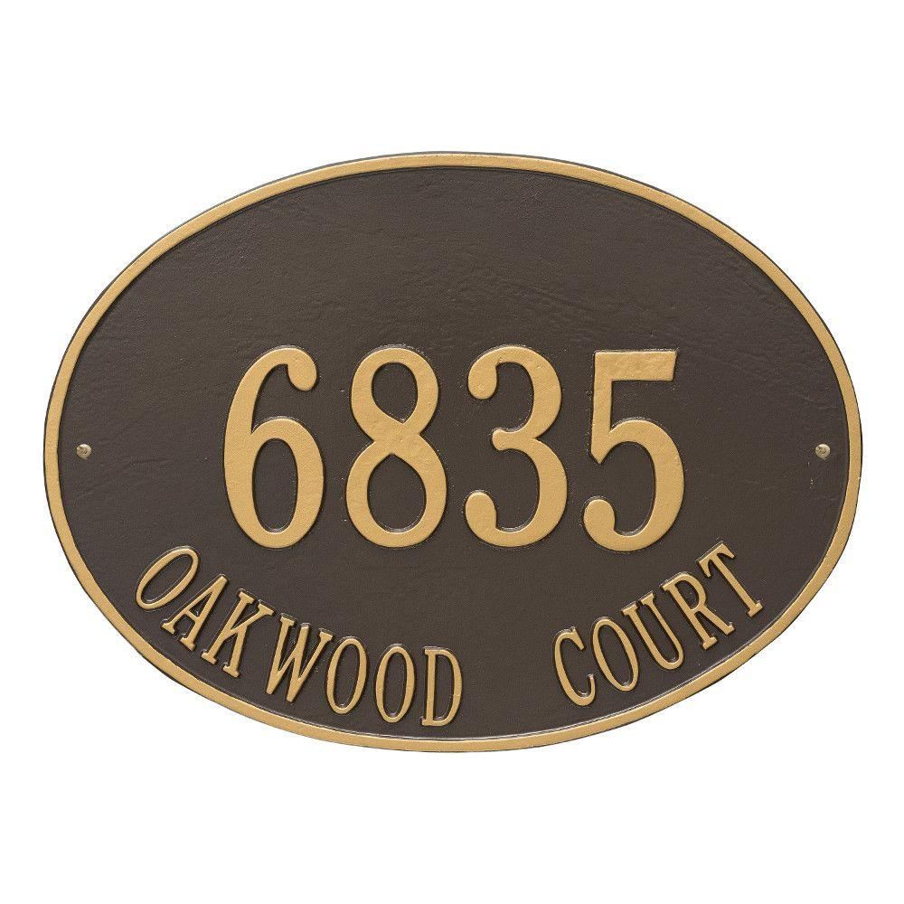 Hawthorne Estate Oval Bronze/Gold Wall 2-Line Address Plaque