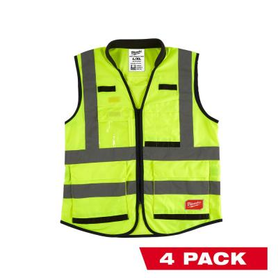 Premium 3X-Large /4X-Large Yellow Class 2-High Visibility Safety Vest with 15 Pockets (4-Pack)
