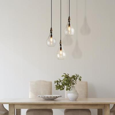 Modern Farmhouse Pendant 1-Light Rustic Coastal Pendant Light with Vintage Wood Base and Water Drop Seeded Glass Shade