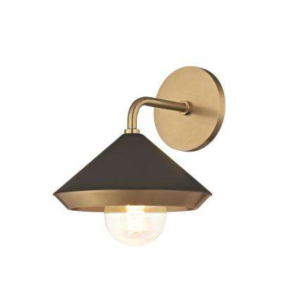 Marnie 1-Light Aged Brass Wall Sconce with Black Shade