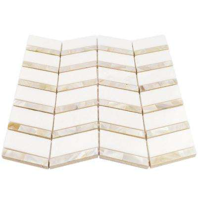 Blazon White Thassos And Mother Of Pearl Herringbone 11 3/4 in. x 11 5/8 in. Polished Glass Mosaic Tile
