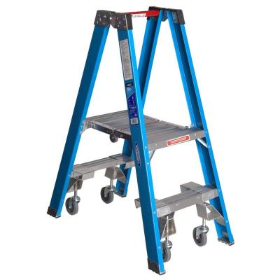 9 ft. Reach Fiberglass Platform Twin Step Ladder with Casters 250 lb. Load Capacity Type I Duty Rating