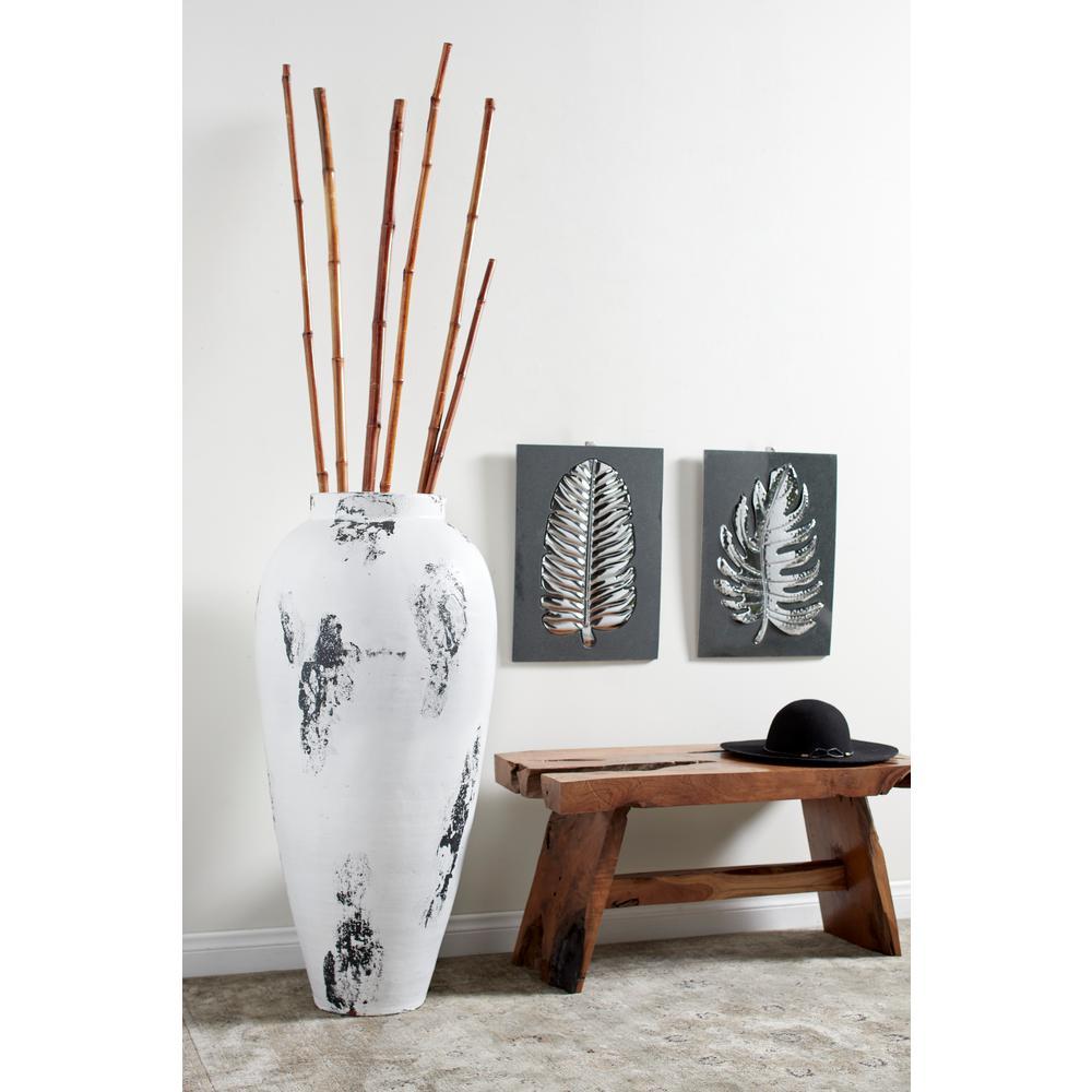Black and White Stoneware Floor Decorative Vase with Textured Brushstroke Detail
