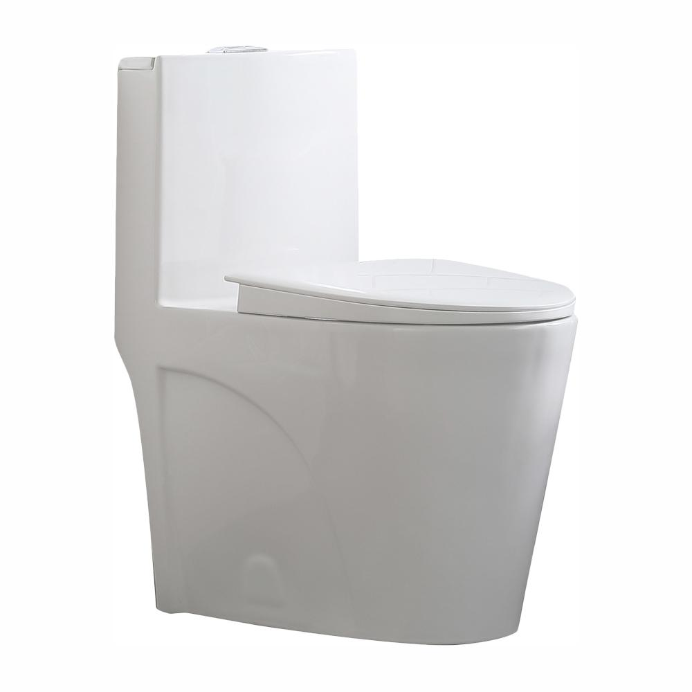 Glacier Bay Buxton 1-Piece 1.6 GPF/1.1 GPF Dual Flush Elongated Toilet in White