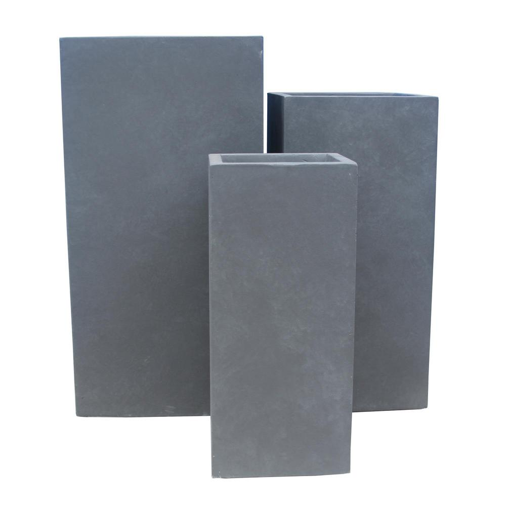 KANTE 28 in. Tall Charcoal Lightweight Concrete Rectangle Modern Tapered Outdoor Planter (Set of 3)
