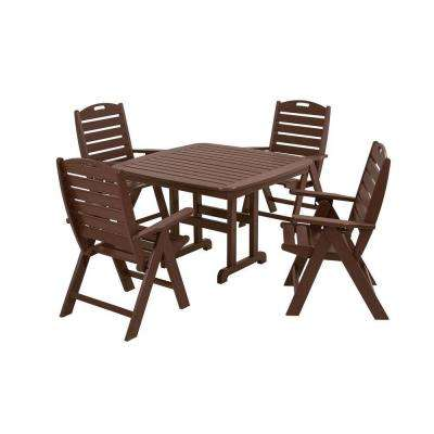 Nautical Mahogany 5-Piece Plastic Outdoor Patio Dining Set