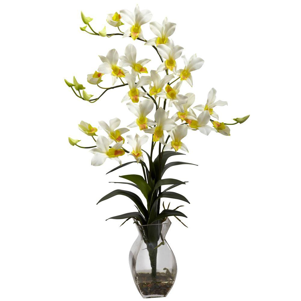 Dendrobium Orchid with Vase Arrangement in Cream