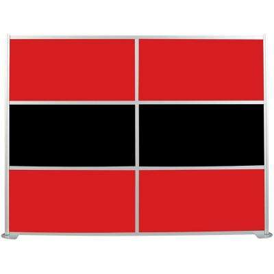 100-1/8 in. x 75-3/8 in. uDivide Red and Black 6-Panel Room Divider