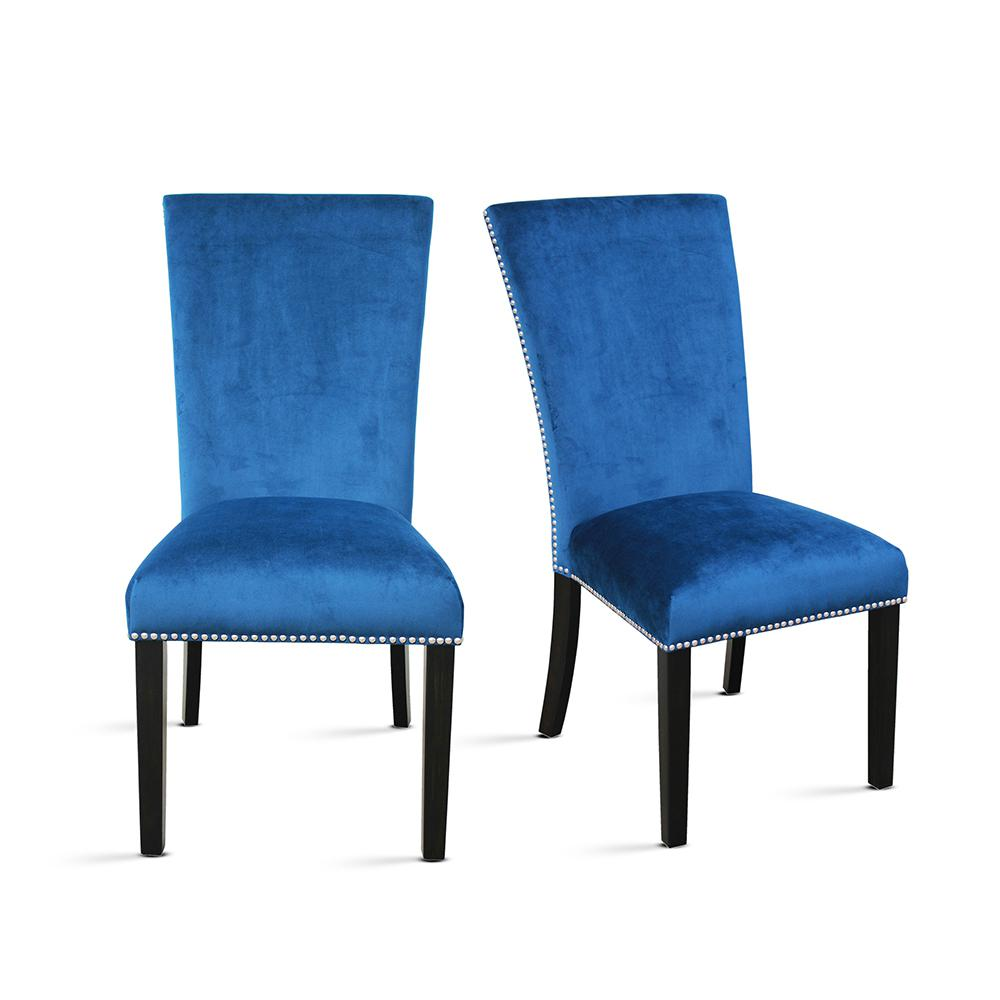 Camila Blue Velvet Counter Chair (Set of 2)