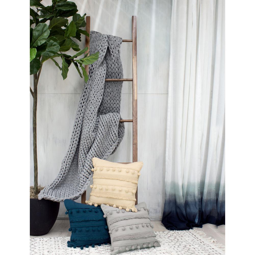 Fiji Pompom 18 in. x 18 in. Natural Decorative Pillow
