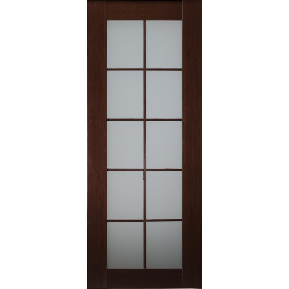 best service e8972 1f944 Belldinni 24 in. x 80 in. Mia Wenge Finished Solid Core Wood 10-Lite  Frosted Glass Interior Door Slab No Bore