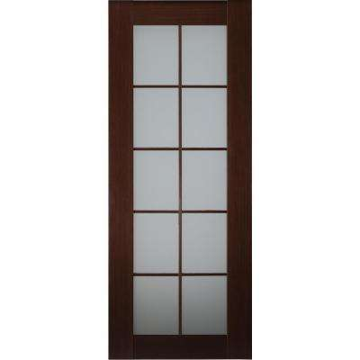 32 in. x 80 in. Mia Wenge Finished Solid Core Wood 10-Lite Frosted Glass Interior Door Slab No Bore