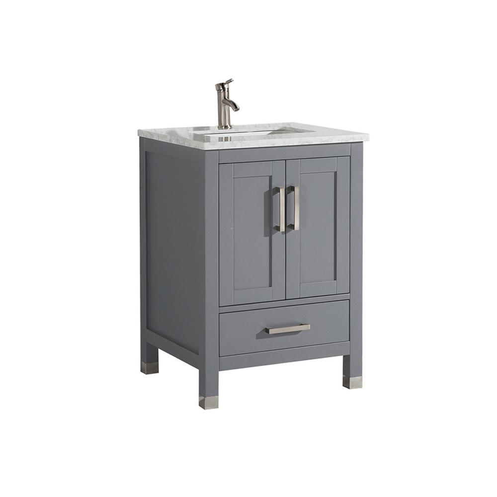 MTD Vanities Reisa 24 in. W x 22 in. D x 36 in. H Bath Vanity in Grey with Grey/White Carrara Marble Vanity Top with White Basin