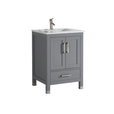 Reisa 24 in. W x 22 in. D x 36 in. H Bath Vanity in Grey with Grey/White Carrara Marble Vanity Top with White Basin
