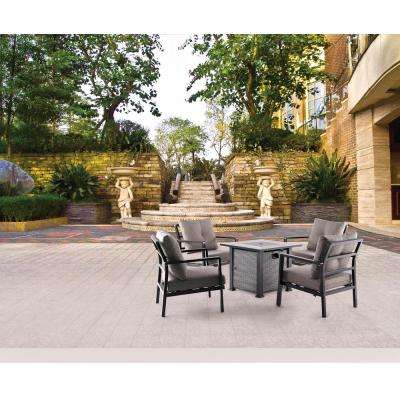 5-Piece Aluminum Patio Fire Pit Conversation Set with Beige Cushion