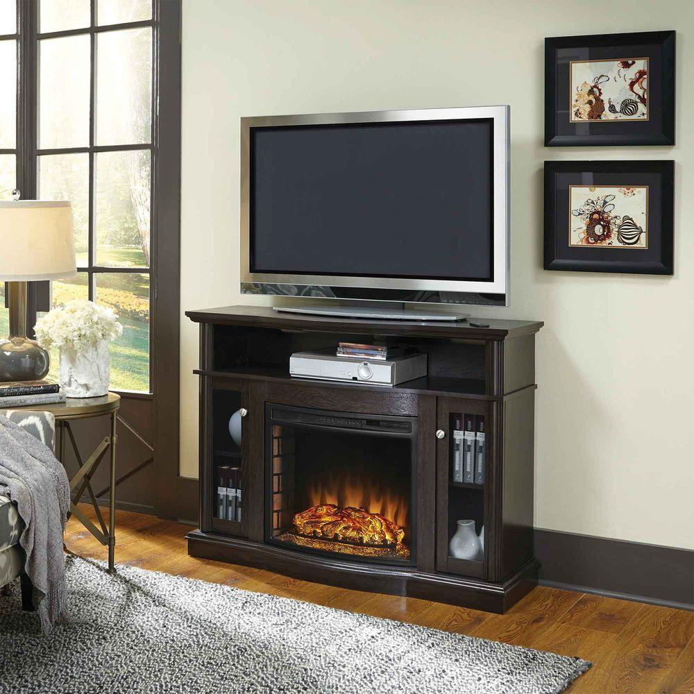 Pleasant Hearth Elliott 47 In Media Electric Fireplace In Merlot 248 44 34m The Home Depot