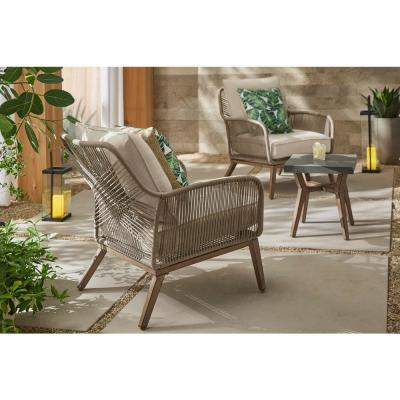 Haymont 3-Piece Steel Wicker Outdoor Patio Conversion Seating Set with Beige Cushions