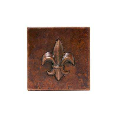 4 in. x 4 in. Hammered Copper Fleur De Lis Decorative Wall Tile in Oil Rubbed Bronze (4-Pack)