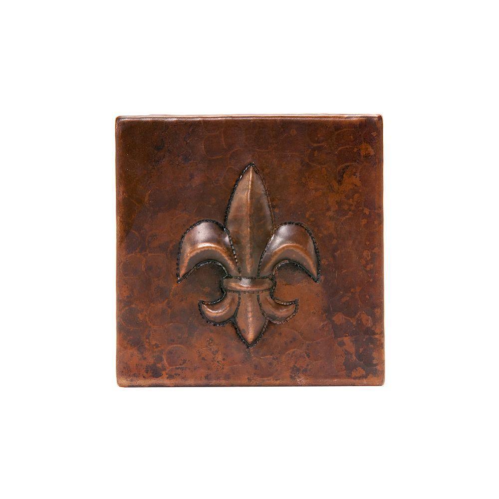 4 in. x 4 in. Hammered Copper Fleur De Lis Decorative