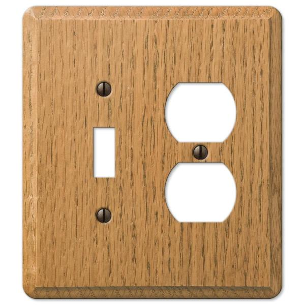 Contemporary 2 Gang 1-Toggle and 1-Duplex Wood Wall Plate - Light Oak