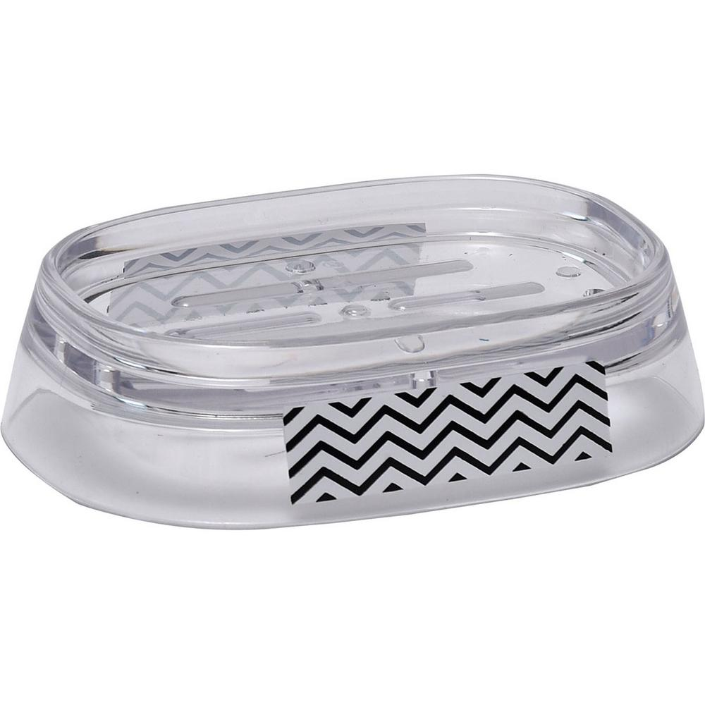 Zigzag Clear Acrylic Printed Bath Countertop Soap Dish Cup