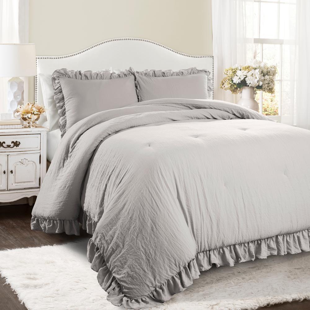 Reyna Comforter Light Gray 3-Piece King Set