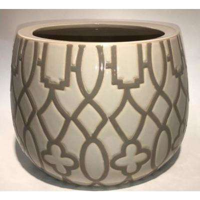 12 in. Tan Ceramic Arbor Pot