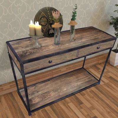 Brown and Black Metal Framed Mango Wood Console with Two Drawers and Open Base