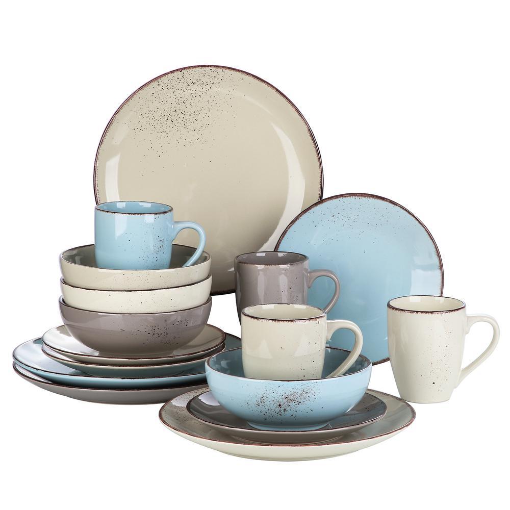 Navia Nature 16-Piece Assorted Colors Porcelain Dinnerware Sets (Service Set For 4)