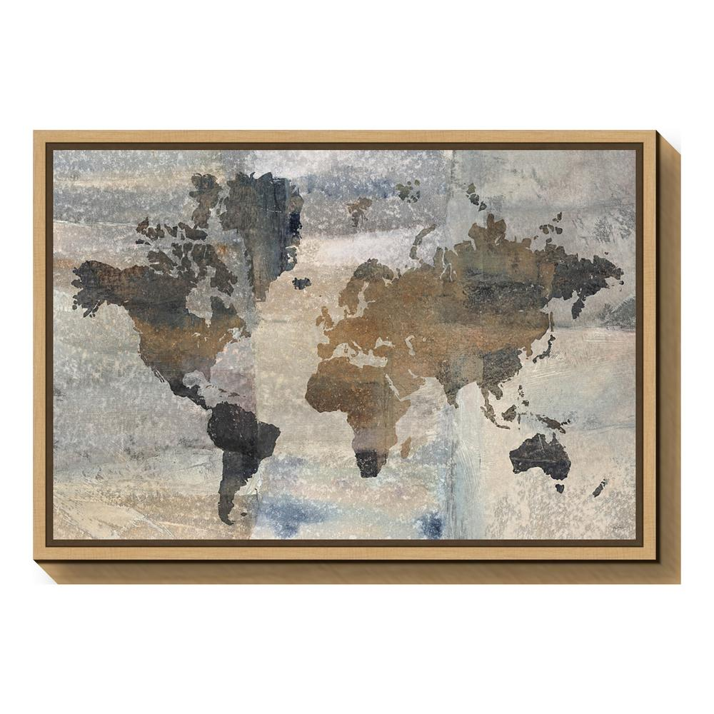 World Map Framed Wall Art.Amanti Art Stone World Map By Avery Tillmon Framed Canvas Wall