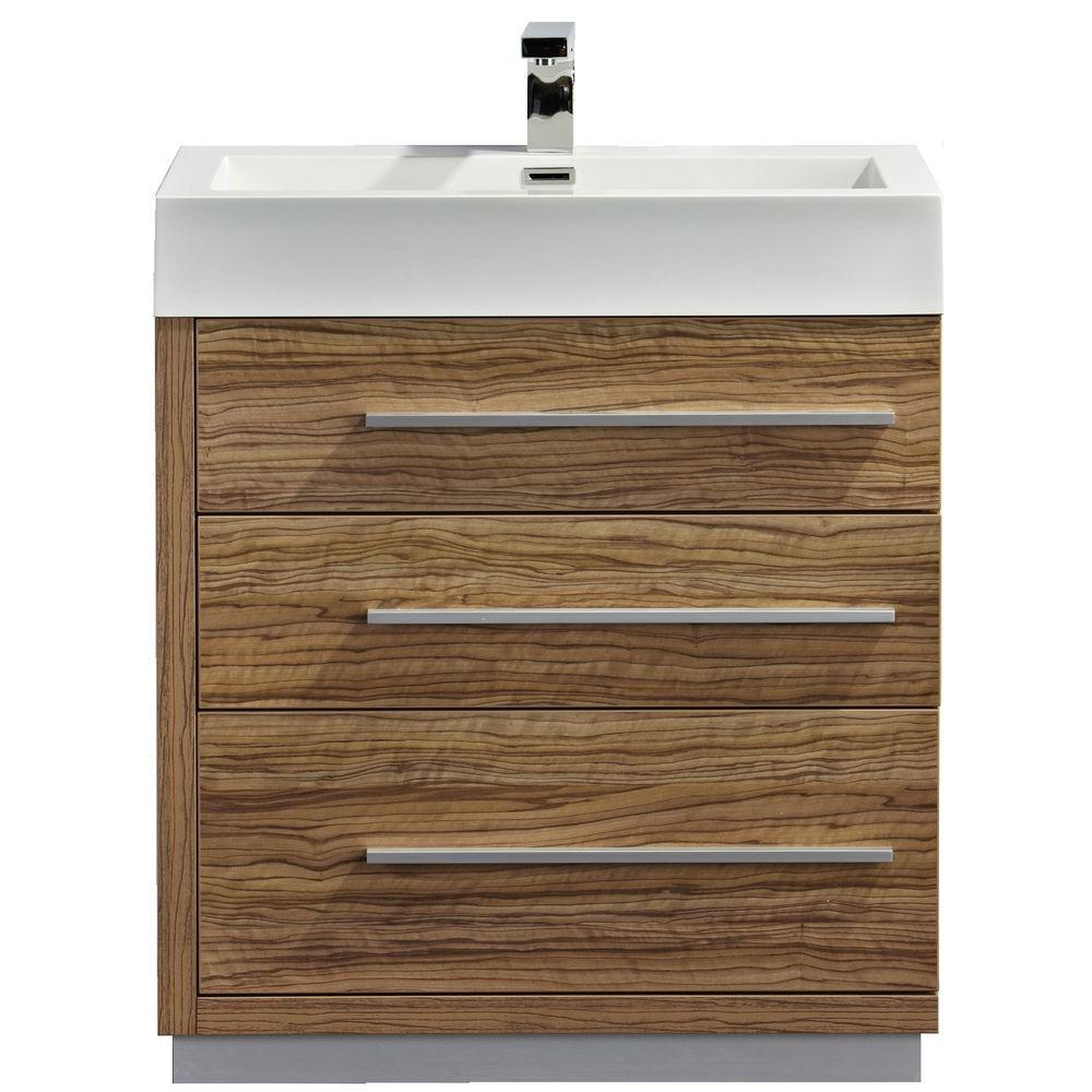 null Dreamwerks 29 in. W x 19 in. D x 30 in. H Vanity in Lacquered Cherry Wentworth Finish with Marble Vanity Top in White