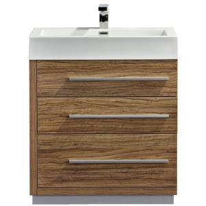 Dreamwerks 29 in. W x 19 in. D x 30 in. H Vanity in Lacquered Cherry Wentworth Finish with Marble Vanity Top in White