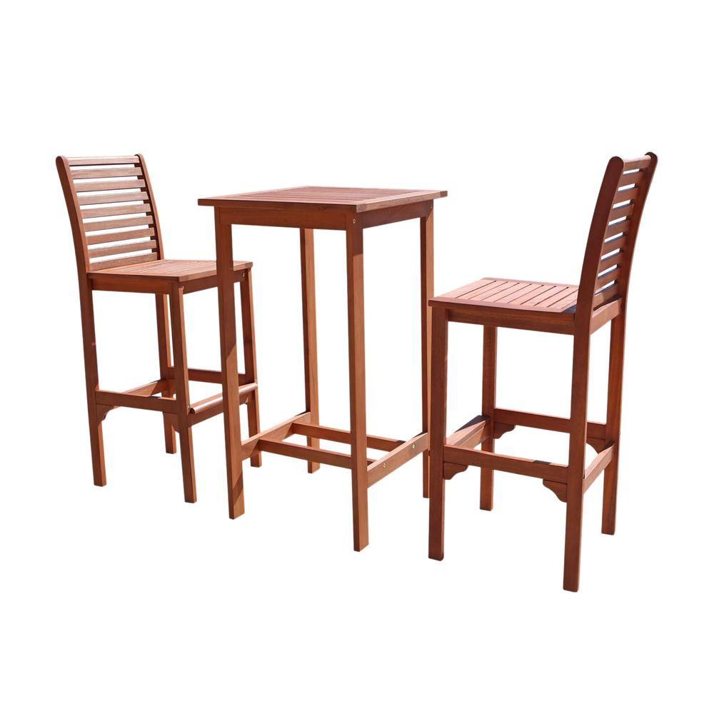 Vifah Malibu Outdoor 3 Piece Wood Square Bar Height Bistro Set