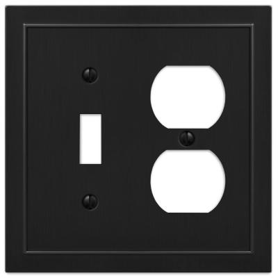 Bethany 2 Gang 1-Toggle and 1-Duplex Metal Wall Plate - Black